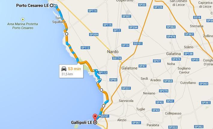 Gallipoli Cartina Puglia.Itinerario Da Gallipoli A Porto Cesareo Coste Del Salento