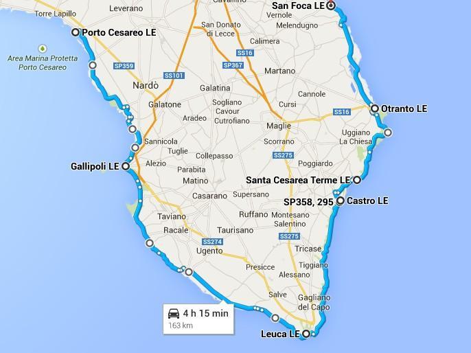 Cartina Itinerari Puglia.Itinerari Per Visitare Il Salento