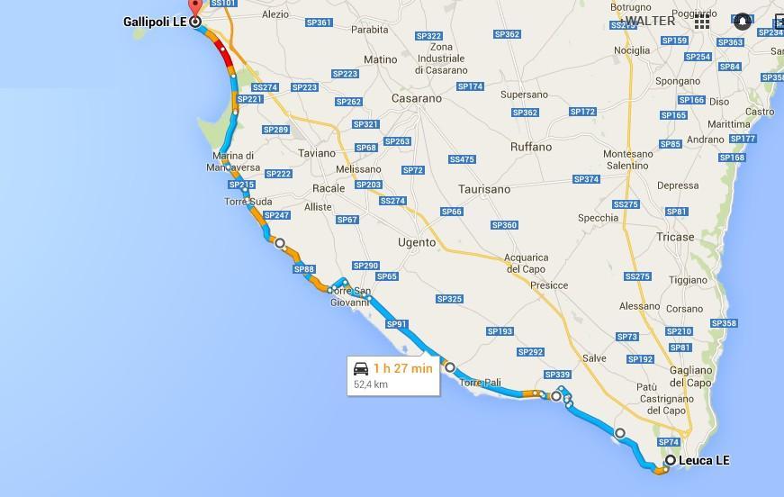 Gallipoli Cartina Puglia.Itinerario Da Marina Di Leuca A Gallipoli Coste Del Salento